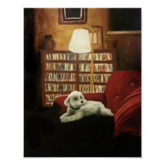 Poodle on Chair Pet Portrait Poster