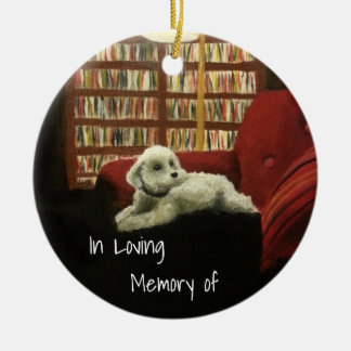 Poodle on Chair Pet Portrait with Text Ceramic Ornament