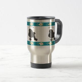 Poodle on Teal Floral Travel Mug