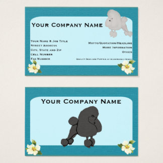Poodle on teal with dogwwood flower business card