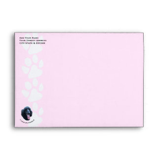 Poodle on White Pawprints A7 Envelope