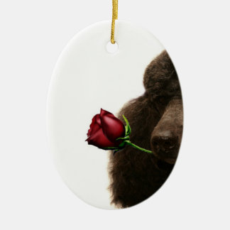 Poodle Double-Sided Oval Ceramic Christmas Ornament