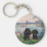 Poodle Pair (black) - By the Seine Basic Round Button Keychain