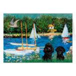 Poodle Pair (black) - Sailboats Greeting Cards