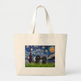 Poodle Pair (black) - Starry Night Large Tote Bag