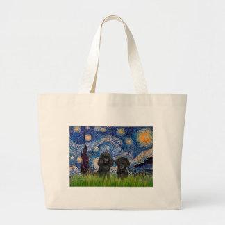 Poodle Pair (black) - Starry Night Tote Bag