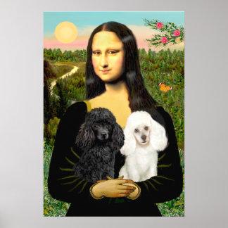 Poodle Pair Black + White - Mona Lisa Poster