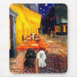 Poodle Pair (BW) - Terrace Cafe Mouse Pad