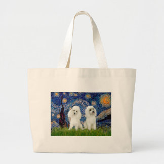 Poodle Pair (W) - Starry Night Large Tote Bag