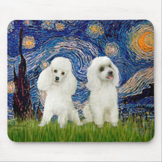 Poodle Pair (W) - Starry Night Mouse Pad