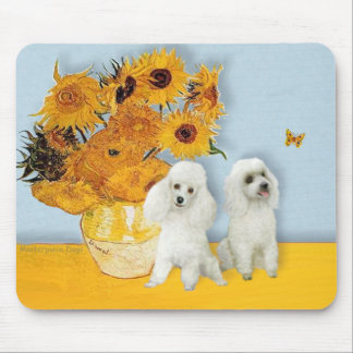 Poodle Pair (W) - Sunflowers Mouse Pad