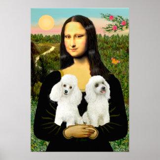 Poodle Pair (White) - Mona Lisa Poster