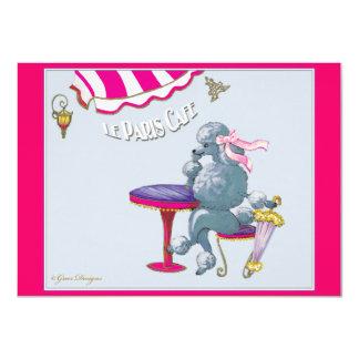 Poodle Paris Cafe Card