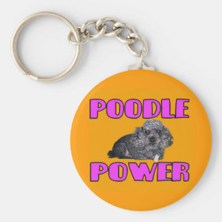 Poodle power Keychain. Basic Round Button Keychain