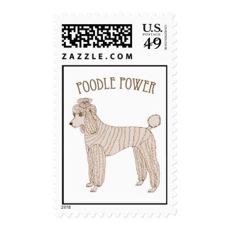 Poodle Power Postage Stamp