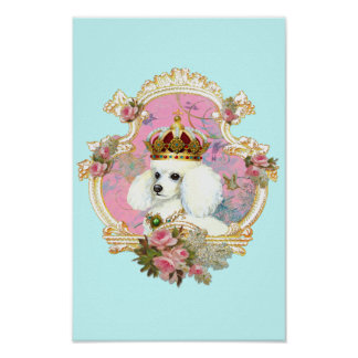 Poodle Princess n Pink Roses Print