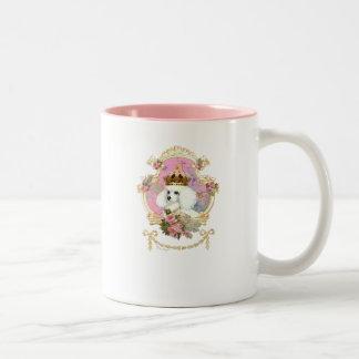 Poodle Princess n Pink Roses Two-Tone Coffee Mug