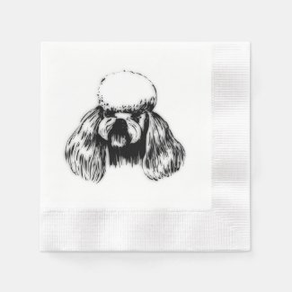 Poodle Pup Coined Cocktail Napkin
