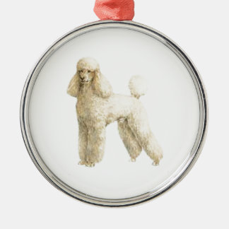 Poodle -- Puppy Clip Round Metal Christmas Ornament