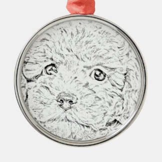 Poodle puppy metal ornament