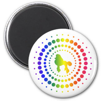 Poodle Rainbow Studs 2 Inch Round Magnet