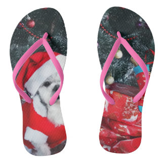 Poodle santa - christmas dog - santa claus dog flip flops