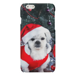 Poodle santa - christmas dog - santa claus dog glossy iPhone 6 case