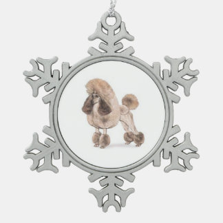 Poodle -- Show Coat Snowflake Pewter Christmas Ornament