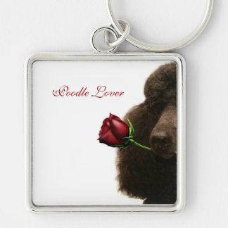 Poodle Silver-Colored Square Keychain