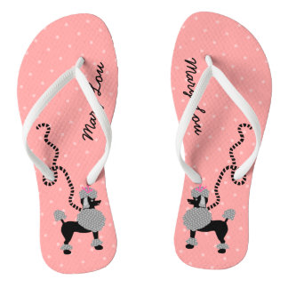 Poodle Skirt Dog Retro Pink 50s Modern Custom Name Flip Flops