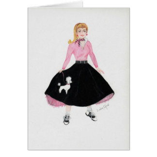 Poodle Skirt Note Card