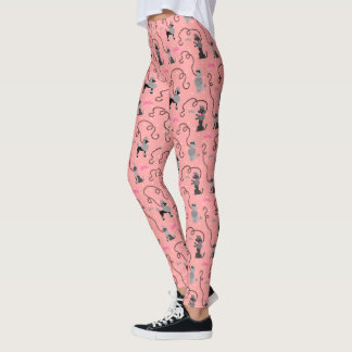 Poodle Skirt Retro 50s Mod Pink Black Cool Pattern Leggings