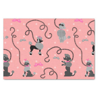 "Poodle Skirt Retro Pink and Black 50s Pattern 10"" X 15"" Tissue Paper"