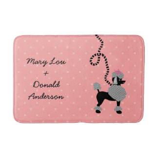 Poodle Skirt Retro Pink and Black 50s Pattern Bath Mat
