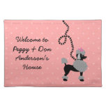 Poodle Skirt Retro Pink and Black 50s Pattern Cloth Placemat