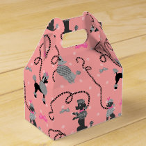 Poodle Skirt Retro Pink and Black 50s Pattern Favor Box
