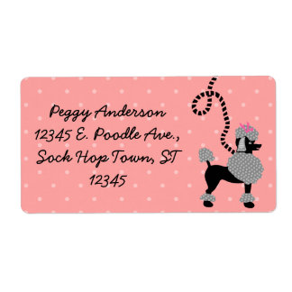 Poodle Skirt Retro Pink and Black 50s Pattern Shipping Label