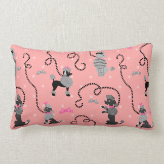 Poodle Skirt Retro Pink and Black 50s Pattern Lumbar Pillow
