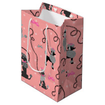 Poodle Skirt Retro Pink and Black 50s Pattern Medium Gift Bag
