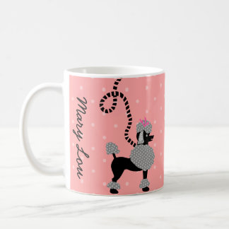 Poodle Skirt Retro Pink and Black 50s Pattern Mugs
