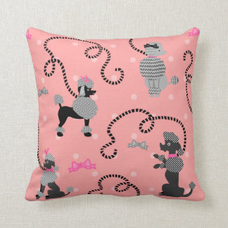 Poodle Skirt Retro Pink and Black 50s Pattern Throw Pillow