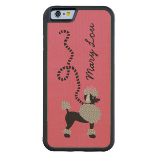 Poodle Skirt Retro Pink and Black 50s Personalized Carved® Maple iPhone 6 Bumper