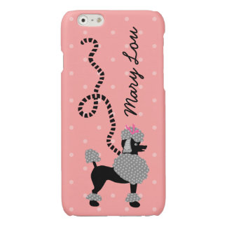 Poodle Skirt Retro Pink and Black 50s Personalized Glossy iPhone 6 Case