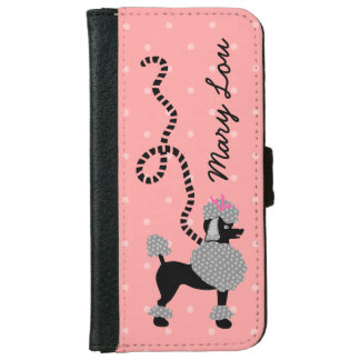 Poodle Skirt Retro Pink and Black 50s Personalized iPhone 6/6s Wallet Case