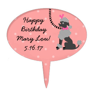 Poodle Skirt Retro Pink Black 50s Birthday Party Cake Topper