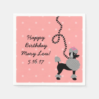 Poodle Skirt Retro Pink Black 50s Birthday Party Paper Napkin