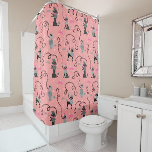 Poodle Skirt Retro Pink Black 50s Mid Century Mod Shower Curtain