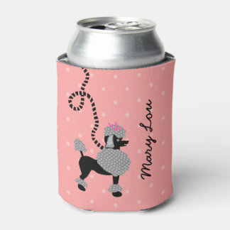 Poodle Skirt Retro Pink Black 50s Mod Personalized Can Cooler