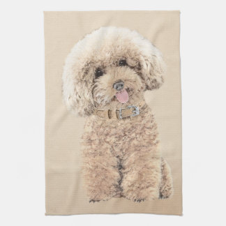 Poodle (Toy, Miniature) Painting Original Dog Art Kitchen Towel