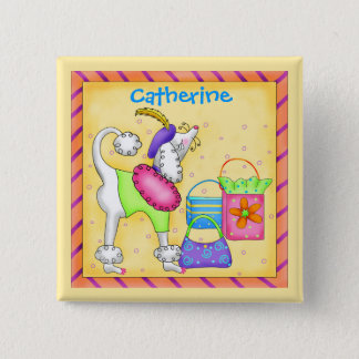 Poodle Whimsy Dog Art Yellow Name Badge Button